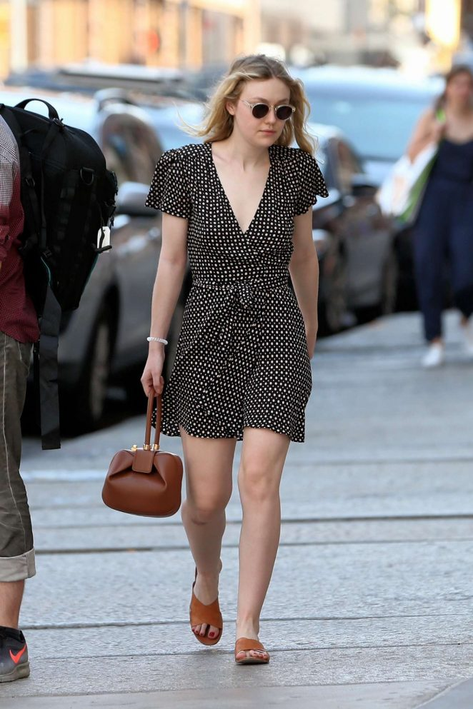 Dakota Fanning in Mini Dress out in New York