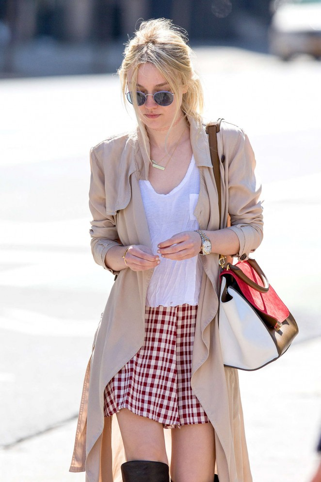Dakota Fanning in Mini Skirt Out in NYC