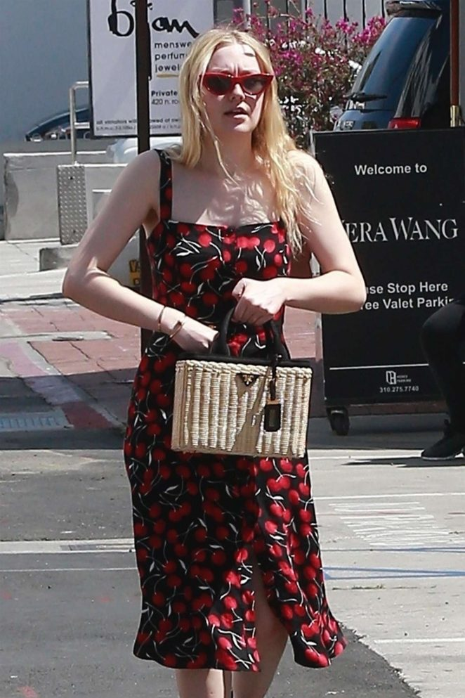 Dakota Fanning in Print Dress out in Beverly Hills