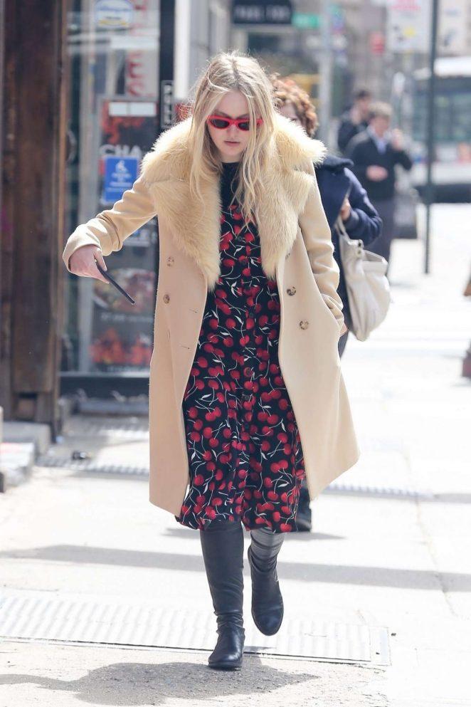 Dakota Fanning in Print Dress - Out in New York
