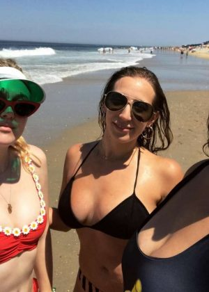 Dakota Fanning in Red Bikini Top - Instagram