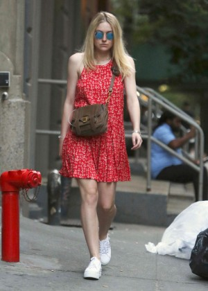 Dakota Fanning in Red Mini Dress Out in Soho