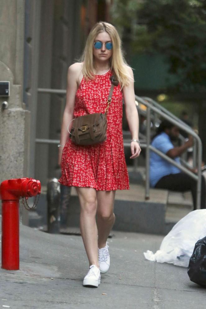 Dakota Fanning in Red Mini Dress Out in Soho