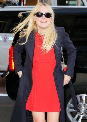 Dakota Fanning in Red Mini Dress in New York  Dakota Fanning