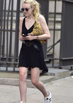 Dakota Fanning in Short Black Dress out in NYC