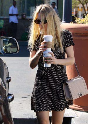Dakota Fanning in Short Dress gets coffee in Studio City