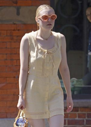 Dakota Fanning in Yellow Dress - Out in New York