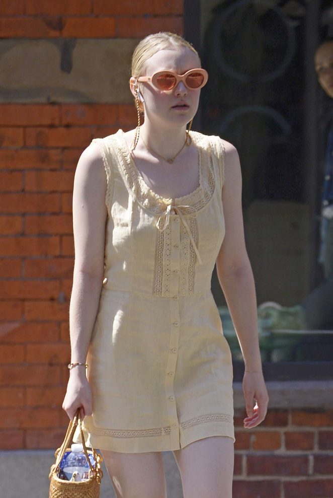 Dakota Fanning in Yellow Dress - Out in New York