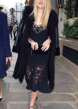 Dakota Fanning - Leaves the Bristol Hotel in Paris