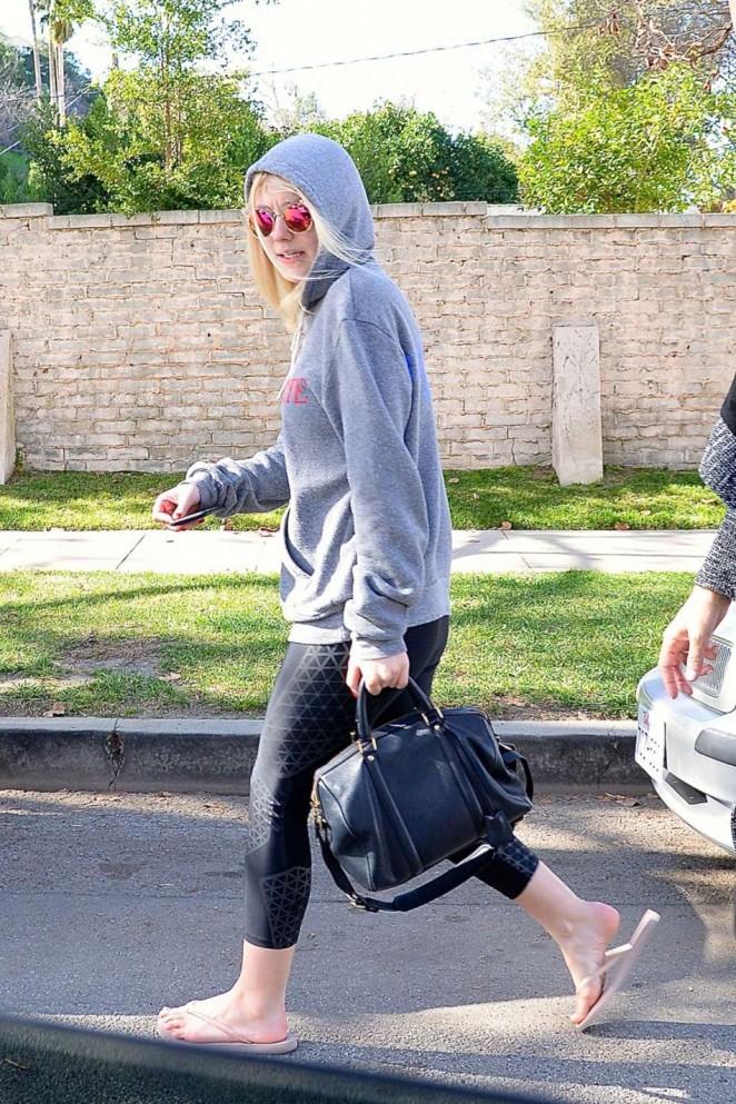 Dakota Fanning in Tight Leggings  - Leaving a Pilates Class in LA