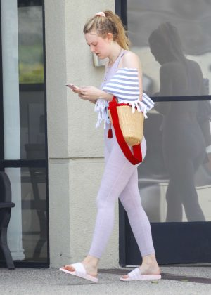 Dakota Fanning - Leaving a pilates class in Studio City