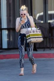 Dakota Fanning out after an exercise class in Los Angeles