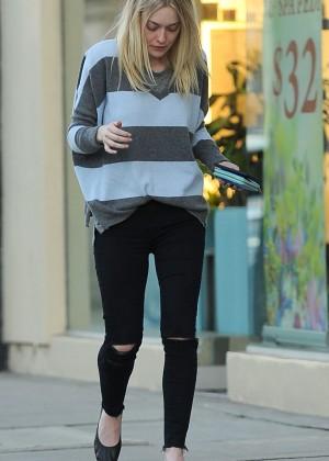Dakota Fanning in Ripped Jeans Out in LA