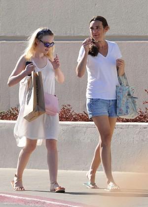 Dakota Fanning in White Dress Out in Los Angeles
