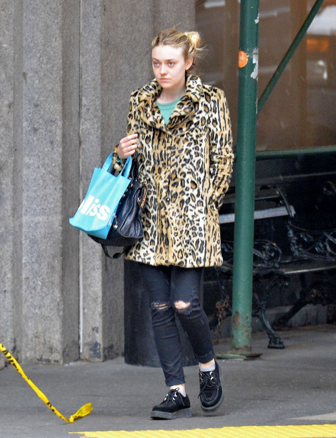Dakota Fanning in Leopard Print Coat Out in NYC