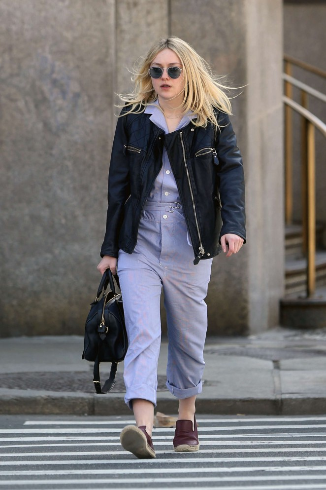 Dakota Fanning in Purple Jumpsuit Out in NYC