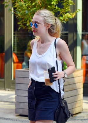 Dakota Fanning in Short Skirt Out in NYC