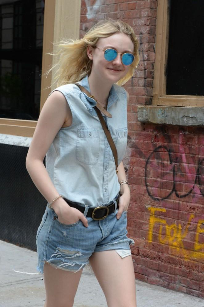 Dakota Fanning in Jeans Shorts Out in Soho