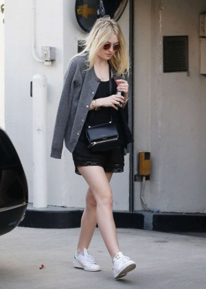Dakota Fanning in Black Mini Dress Shopping in Beverly Hills