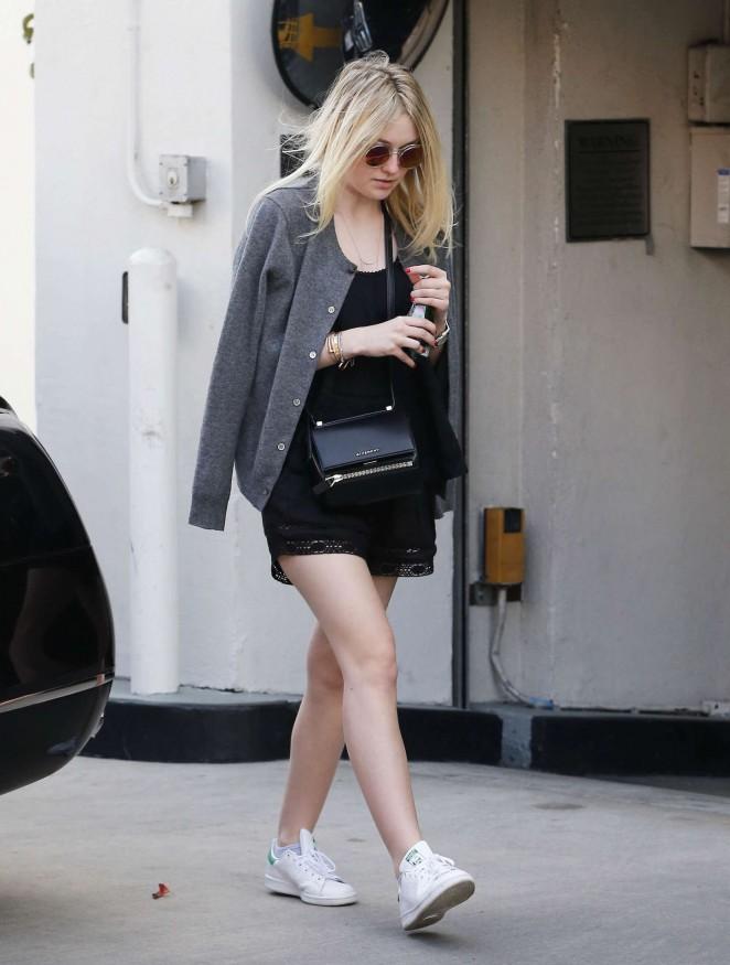Dakota Fanning in Black Mini Dress Shopping in Beverly Hills
