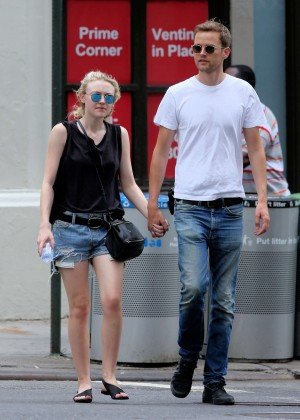Dakota Fanning in Jeans Shorts Out in NYC