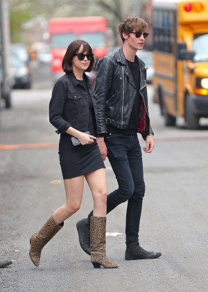 Dakota Johnson in Tight Mini Dress on 'How To Be Single' set in NYC