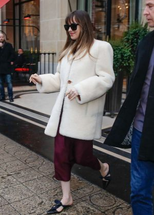 Dakota Johnson at her hotel in Paris