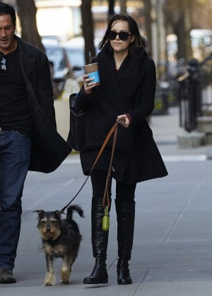 Dakota Johnson with her dog out in NYC