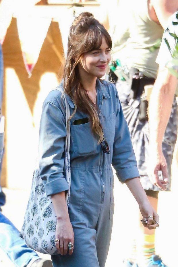 Dakota Johnson - Filming 'Covers' in Los Angeles