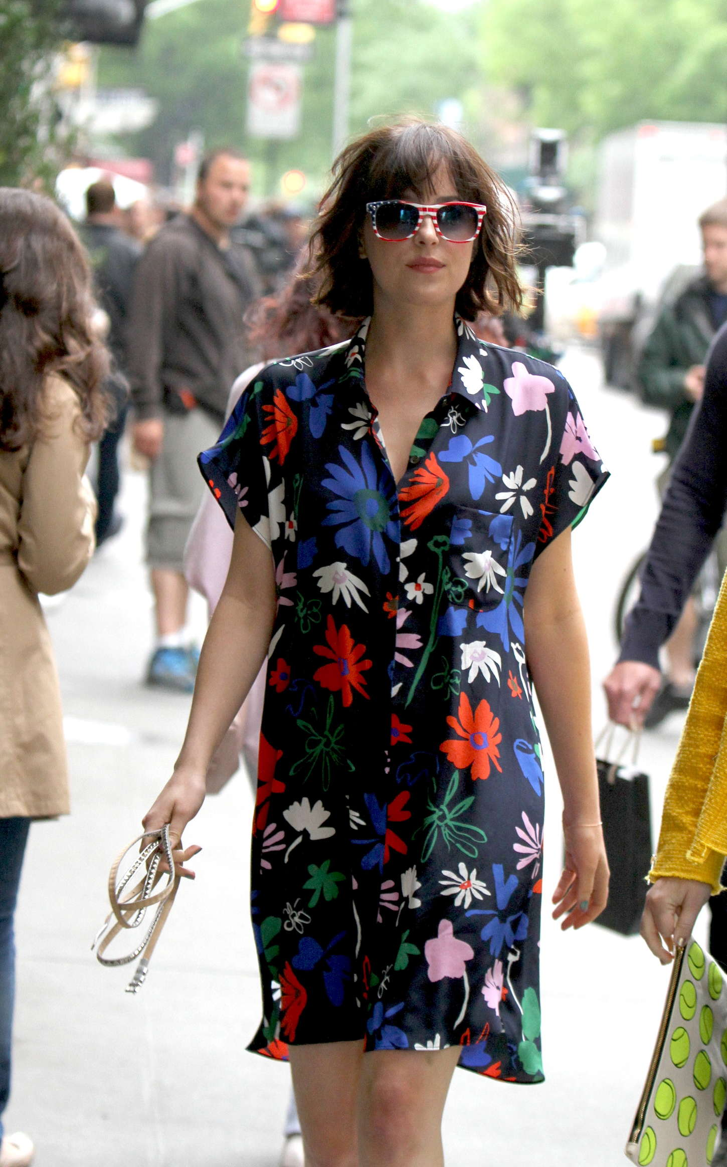 Dakota Johnson in Floral Dress Filming 'How To Be Single' set in NYC