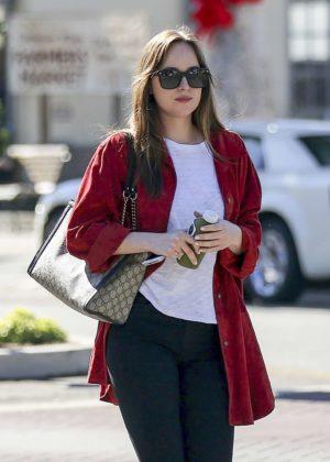 Dakota Johnson grabbing a juice in Los Angeles