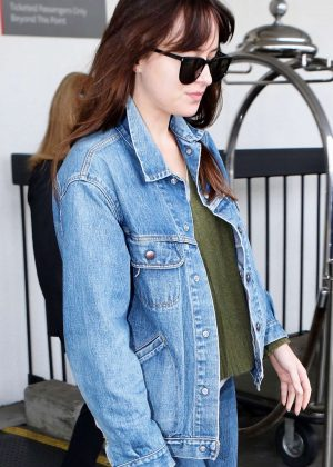 Dakota Johnson in Denim Jacket and Jeans - Out in Los Angeles