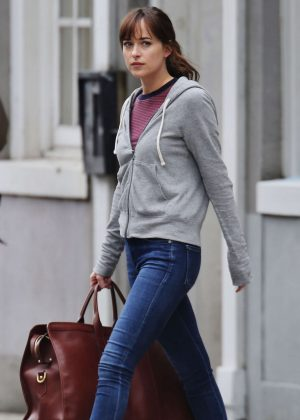 Dakota Johnson in Jeans on the set of 'Fifty Shades Darker' in Vancouver