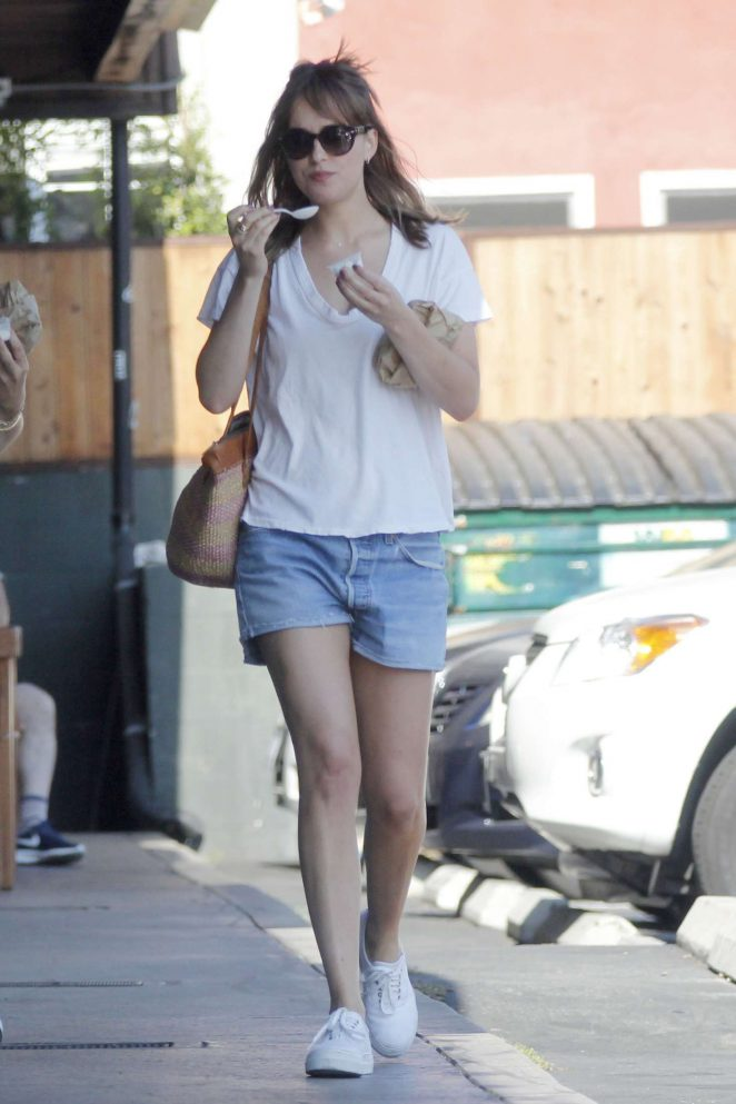 Dakota Johnson in Jeans Shorts Out in Los Angeles