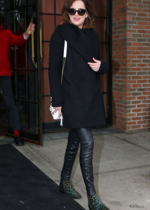 Dakota Johnson in Leather Pants Out in New York City
