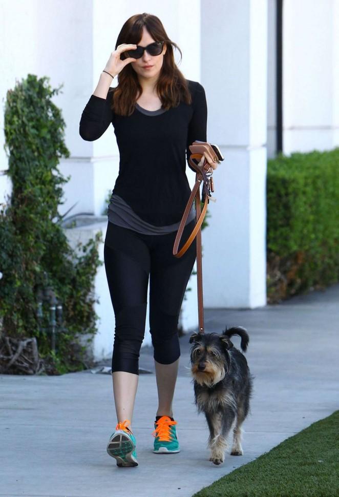Dakota Johnson in Leggings Walking her dog in West Hollywood