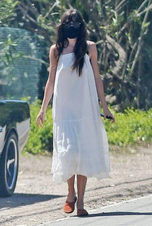 Dakota Johnson in Long White Dress - Out in Malibu