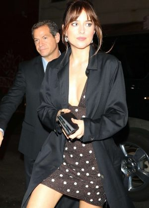 Dakota Johnson in Mini Dress - Night out in New York