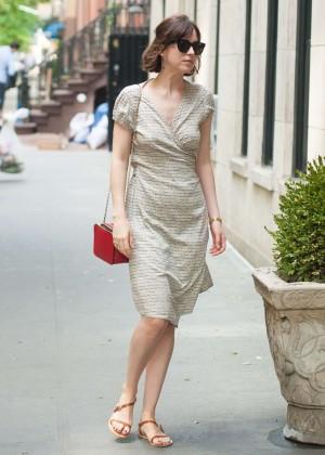 Dakota Johnson in Mini Dress Out in NYC
