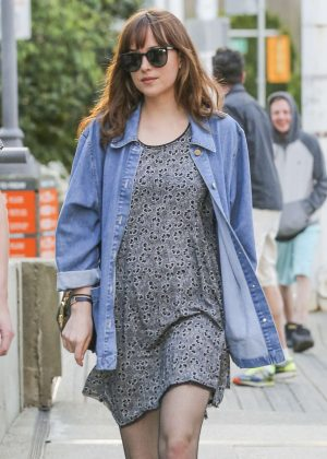 Dakota Johnson in Mini Dress Out in Vancouver