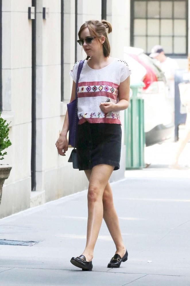 Dakota Johnson in Mini Skirt Out in New York