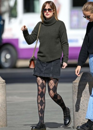 Dakota Johnson in Mini Skirt Out in NYC