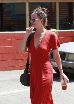 Dakota Johnson in Red Long Dress Out in Los Angeles
