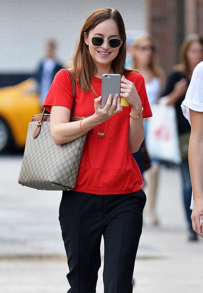 Dakota Johnson in Red T-Shirt Out in New York