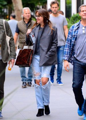 Dakota Johnson in Ripped Jeans - Out and about in Manhattan