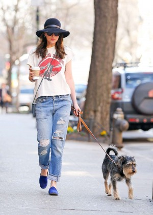 Dakota Johnson in Ripped Jeans Walking her dog in NYC