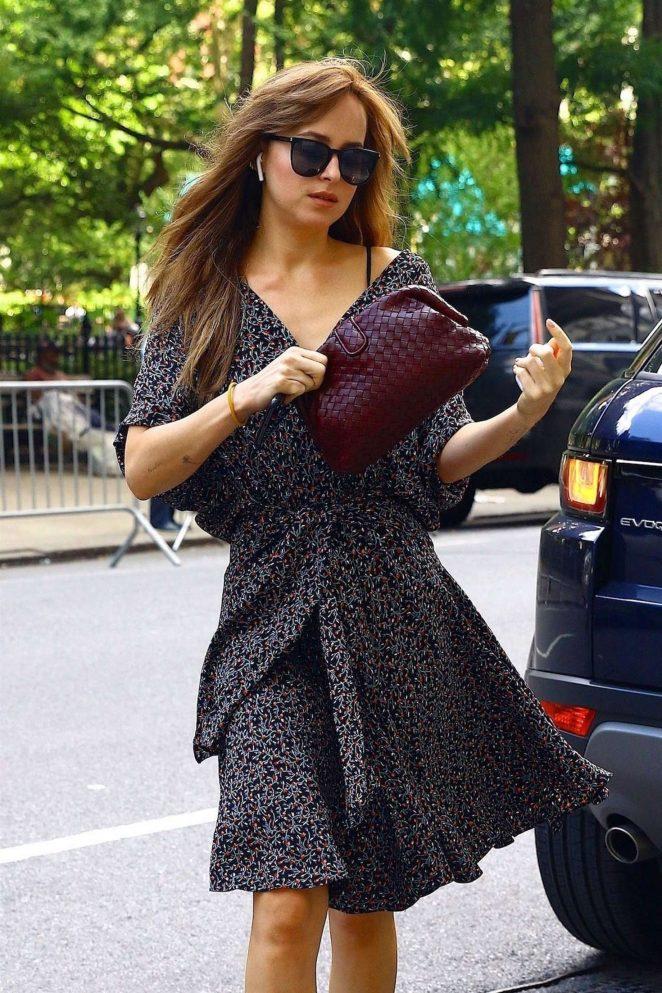 Dakota Johnson in Summer Dress - Out in New York