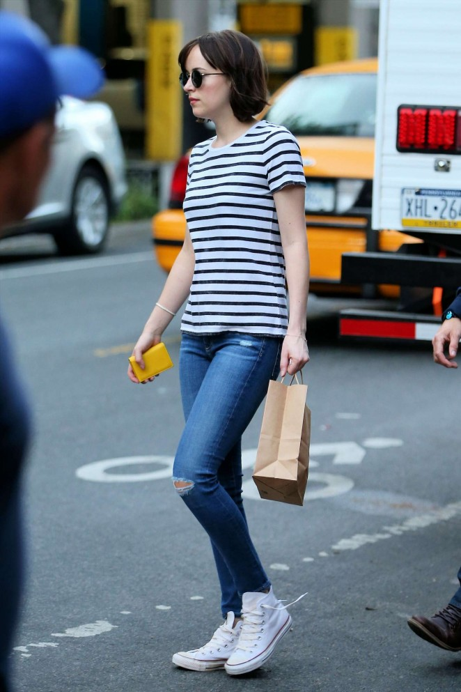Dakota Johnson in Tight Jeans Out in NYC