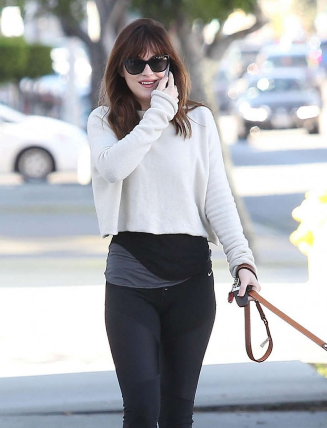 Dakota Johnson in Tight Leggings out in West Hollywood