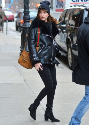 Dakota Johnson in Tight Pants Out in New York